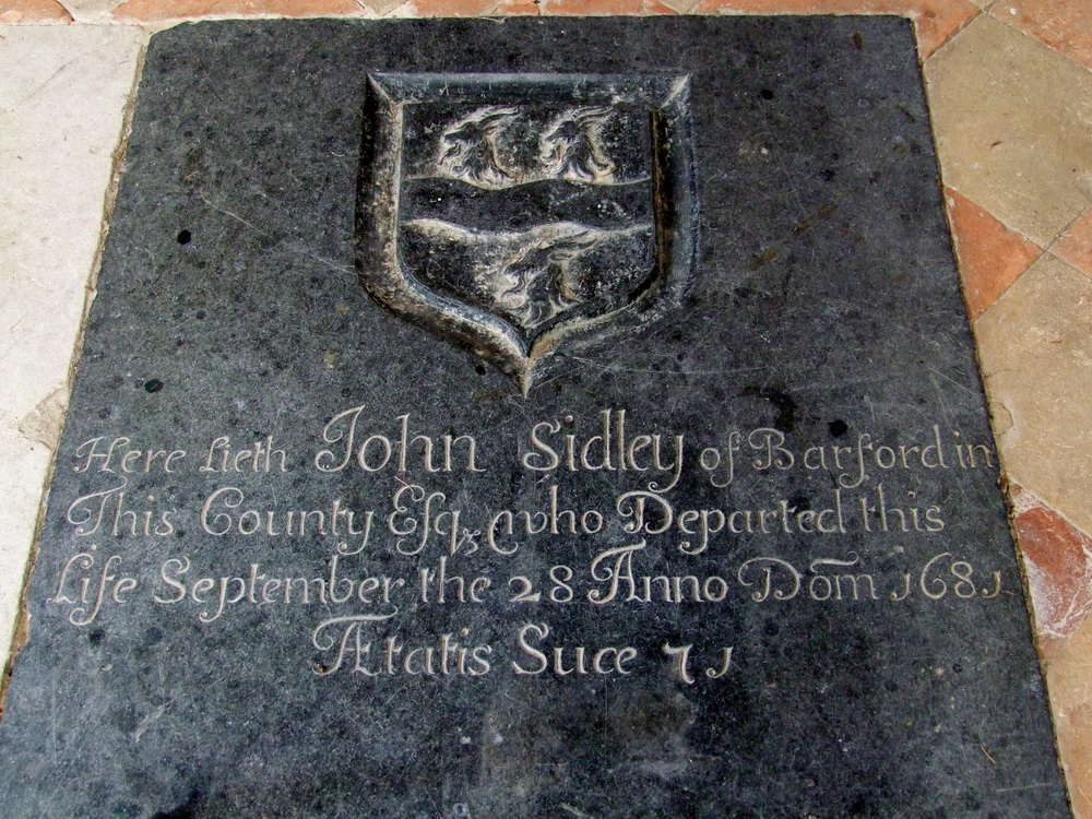 Barford Norfolk St Botolph ledgerstone to John Sidley died 1681
